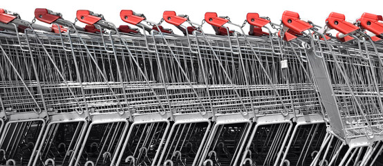 A line of shopping carts nested together