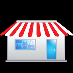 Cute bag shop icon with red awnings