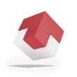 Red and white cube with arrow