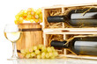 Wooden case with wine bottle, barrel, wineglass and grape