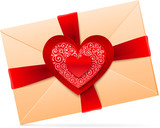 Vector envelope with red paper heart and glossy ribbon