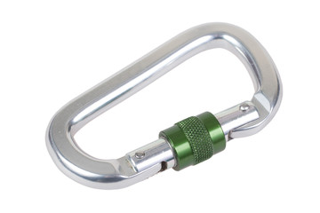 Carabiner hook on white background