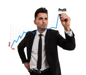Businessman creating a financial chart