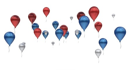 Balloons red blue silver metallic