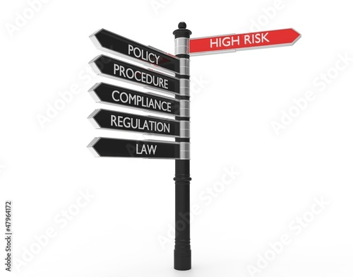 Black and Red street signs for Compliance