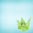 Origami bird made from recycled paper