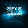 Reflection new year 2013 background for shiny swirl blue wave ho