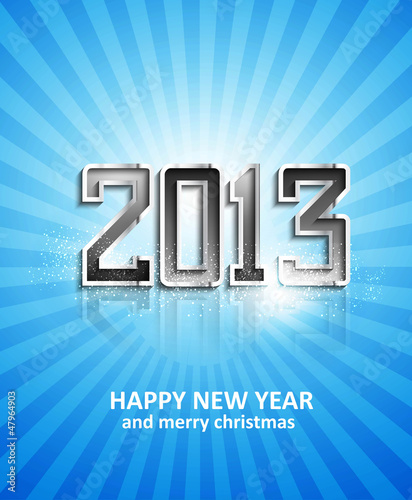 illustration of New Year 2013 metal reflection blue colorful hol