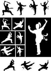 Kungfu silhouette - martial art shadow vector set