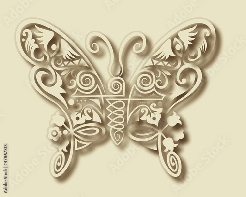 Fotobehang Floral Ornament Carving butterfly ornament decoration vector