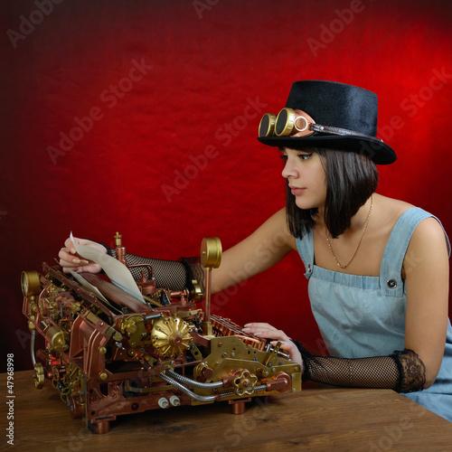 Steam punk girl with Typewriter.