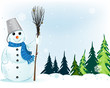 Smiling snowman with broom and bucket