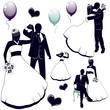 Silhouettes wedding pairs