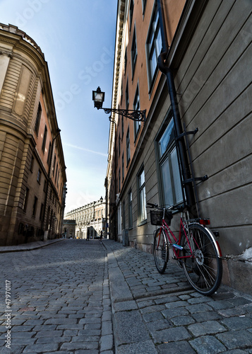 Parked bicycle at Stortorget, Stockholm