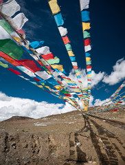 Tibetan Prayer Flags at a mountain pass