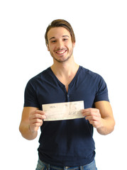 Smiling, happy young man with check