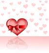 Liebesgruß mit Herzen als Hintergrund