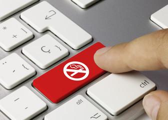 No smoking icon keyboard key. Finger