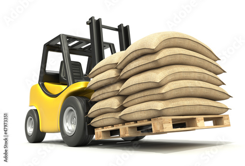 Forklift with sacks
