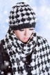 Woman in houndstooth pattern