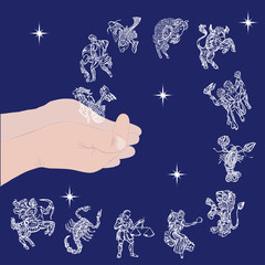 set with signs of zodiac in hands