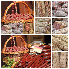 slow food collage made of images from european farmers markets