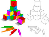 crayons and  cubes