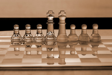 Chess pieces - business concept series: strategy, merger, leader