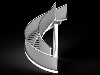 Stairs made ​​of iron and glass on the black background №2