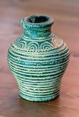 Turquoise vase of terracotta