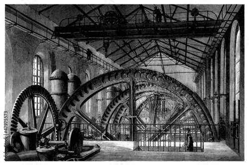 Factory 19th century : Hydraulic Factory Wheel - Roue