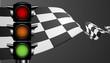 racing flag with green light