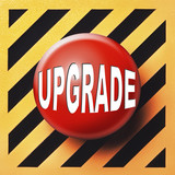 Upgrade button in red over an orange and black background poster