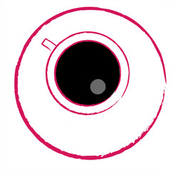 Up view of black coffee cup; vector illustration