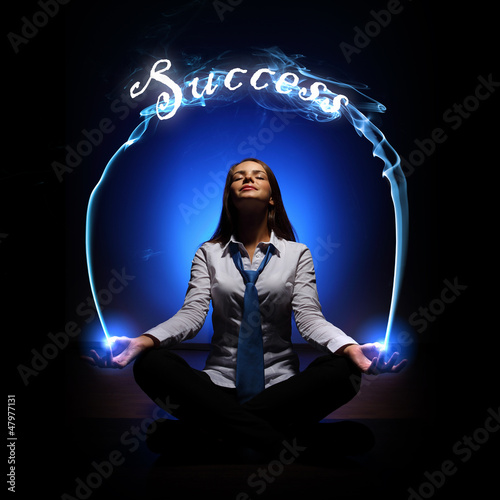 young businesswoman and success word