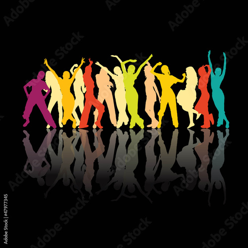 Colored dancing silhouettes