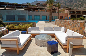 outdoor furniture in summer resort(Greece)