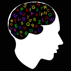 colorful letter in brain, vector