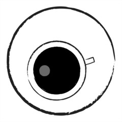 Up view of a black cup of coffee