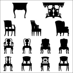 Set of Luxurious armchairs and tables, vector