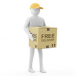 3d Man Delivers the Goods (Free Delivery Concept)