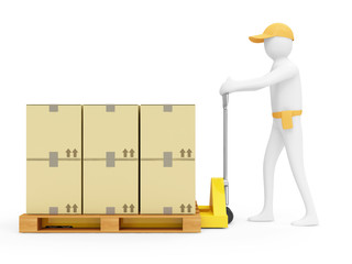 3d Man with Pallet Truck and Carton Boxes on white background