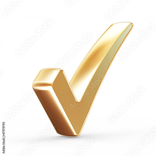 Golden Check Mark isolated on white background