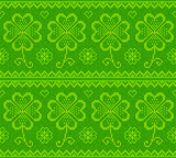 Patrick's day green knitted clovers vector seamless pattern