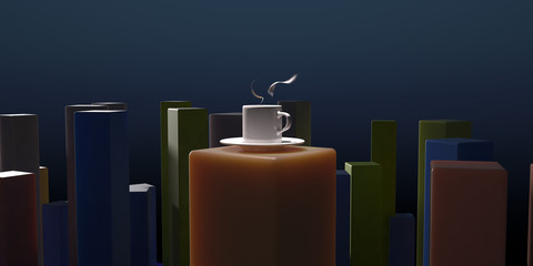 hot drink and beams 3d illustration