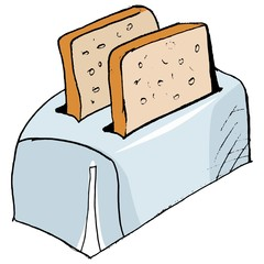 Hand drawn, vector, sketch illustration of toaster