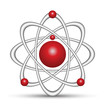 logo red and gray atom
