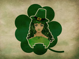 Leprechaun girl grunge background
