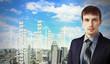 Businessman against cityscape