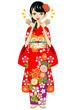 Kimono woman, Happy,Red
